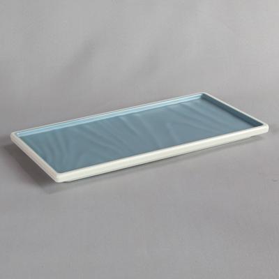 פלטה מלבנית טאיג'י 1/3 מלמין כחול לבן