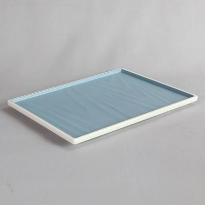 פלטה מלבנית טאיג'י 1/2 מלמין כחול לבן